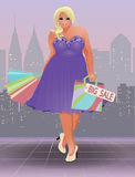 Plus size shopping girl, vector Royalty Free Stock Image