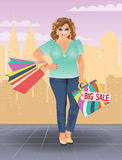 Plus size shopping woman in city, vector. Illustration Royalty Free Stock Photos