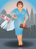 Plus size shopping woman in city Royalty Free Stock Photo