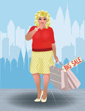 Plus size shopping woman in city, vector Royalty Free Stock Image