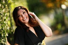 Plus size woman. Beautiful plus size woman outdoors Royalty Free Stock Images