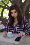 Plus-size woman business style coffee city street cafe stock image