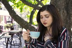Plus-size woman business style coffee city street cafe royalty free stock photos