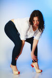 Plus size woman in casual clothes posing in studio Royalty Free Stock Photography
