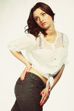 Plus size woman in casual clothes posing in studio Royalty Free Stock Images