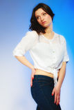 Plus size woman in casual clothes posing in studio Royalty Free Stock Photo