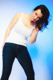 Plus size woman in casual clothes posing in studio Stock Images