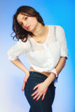 Plus size woman in casual clothes posing in studio Stock Photos