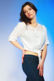 Plus size woman in casual clothes posing in studio Stock Photography