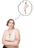 Plus size woman dreaming about slim herself Stock Image