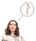 Plus size woman dreaming about slim herself Royalty Free Stock Photo