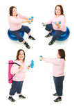 Plus Size Woman Exercise Collage royalty free stock image