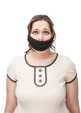 Plus size woman gagged. Beautiful brunette plus size woman gagged isolated royalty free stock photos