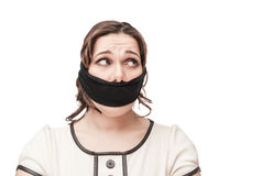 Plus size woman gagged Royalty Free Stock Image
