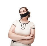 Plus size woman gagged. Beautiful brunette plus size woman gagged isolated stock photos