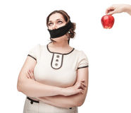 Plus size woman gagged refusing healthy food Royalty Free Stock Photo