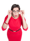 Plus size woman in glasses looking on you isolated on white back Stock Image