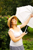 Plus size woman having relax in the park Stock Photography
