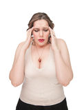 Plus size woman with headache Stock Photography