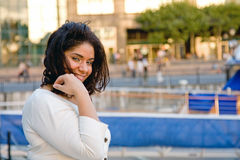 Plus size woman holding hair Royalty Free Stock Photography