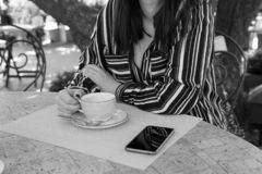 Plus-size woman business style coffee city street cafe stock images