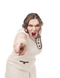 Plus size woman pointing the finger and screaming Stock Photo