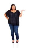Plus size woman presenting Stock Image