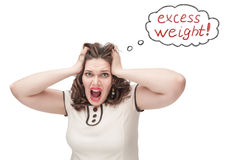 Plus size woman screaming about excess weight. Beautiful plus size woman screaming about excess weight on white background stock photos