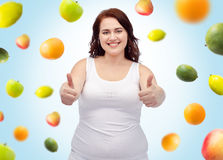 Plus size woman in underwear showing thumbs up Stock Photography