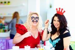 Plus size women having fun on party royalty free stock photos
