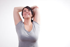 Plus sized woman stretching Royalty Free Stock Photos