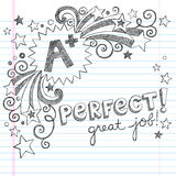 A Plus Student- Great Grades School Sketchy Doodle. A Plus Student Great Grades Back to School Sketchy Notebook Doodles with Lettering, Shooting Stars, and royalty free illustration
