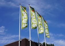 Plus supermarket in the Netherlands. Pijnacker, the Netherlands. May 2018. Plus supermarket in the Netherlands, name and logo on several flags Stock Photo
