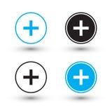Plus szyldowe ikony Plus szyldowi guziki Zdjęcia Royalty Free