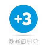 Plus teken drie Voeg symbool drie toe stock illustratie
