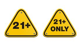 21 plus triangle yellow signs Royalty Free Stock Images
