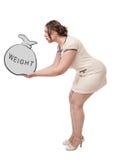 Plus wielkościowa kobiety mienia torba z słowo ciężarem Zdjęcia Stock