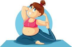 Plus Wielkościowa dziewczyna w joga pozy wektoru ilustraci Obraz Stock
