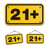 21 plus yellow signs Stock Photo