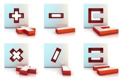 Plusen minus, multiplicerar, delar, lika och det klara tecknet Arkivfoton