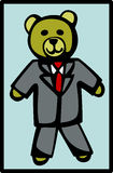 Plush bear in formal suit vector illustration Stock Photos