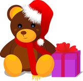 Plush bear with gift Royalty Free Stock Photo
