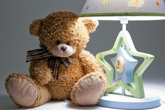 Plush bear and lamp Stock Images