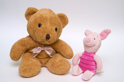 Plush bear and suckling-pig Royalty Free Stock Photography