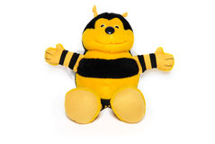 The plush bee. The joyful plush bee on white Royalty Free Stock Photography
