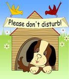 Plush dog sleeping in the shed on meadow, please do not disturb, two birds sitting on the roof, cartoon comic illustration Royalty Free Stock Image