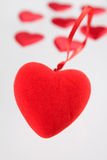 Plush heart against small hearts Royalty Free Stock Photo