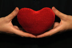 Plush heart in human hands. Royalty Free Stock Photo