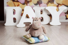 Plush hippo letters baby Stock Photos