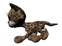 Plush leopard illustration. 3D illustration of a plush leopard in profile, isolated on a white background Royalty Free Stock Images